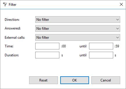Call History filter window