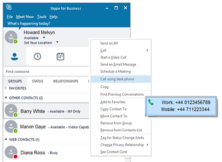 Skype for Business/Lync call using desk phone option