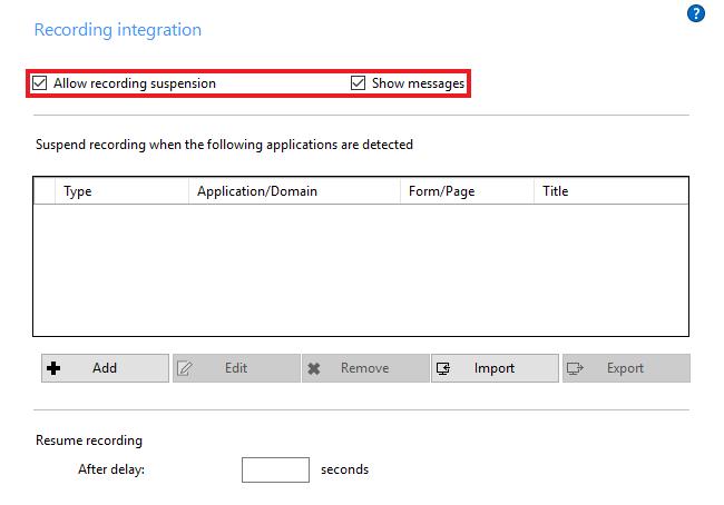Recording integration options