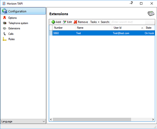 Provider configuration window