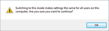 Mode switching warning message